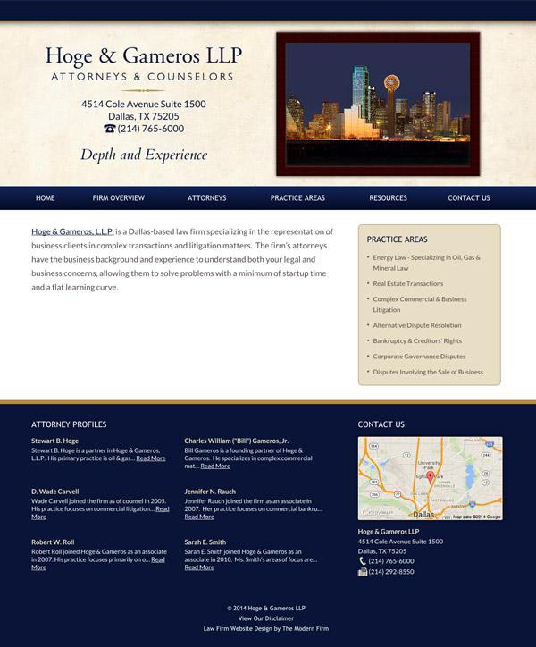 Law Firm Website Design for Hoge & Gameros LLP