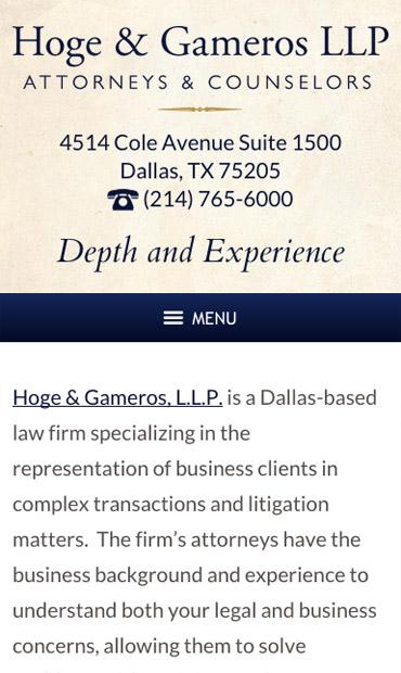 Responsive Mobile Attorney Website for Hoge & Gameros LLP