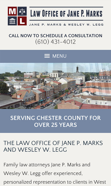 Responsive Mobile Attorney Website for Law Office of Jane P. Marks