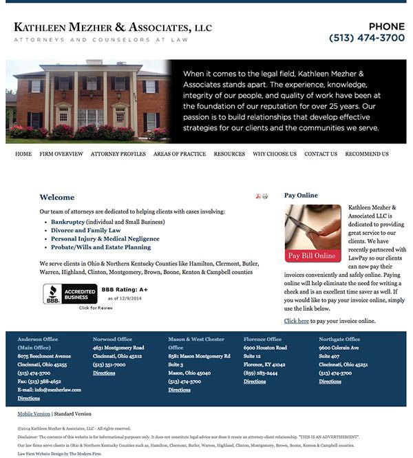 Law Firm Website Design for Kathleen Mezher & Associates, LLC