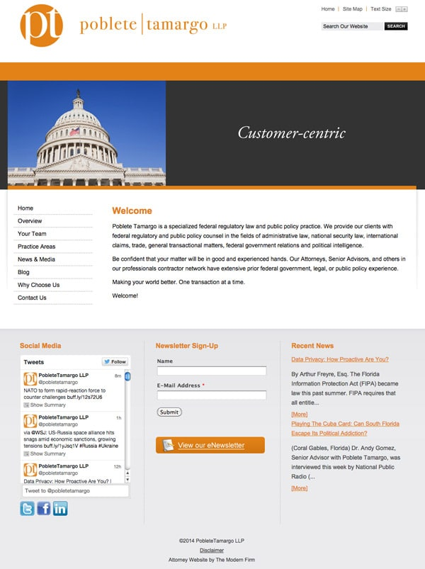 Law Firm Website for Poblete Tamargo, LLP