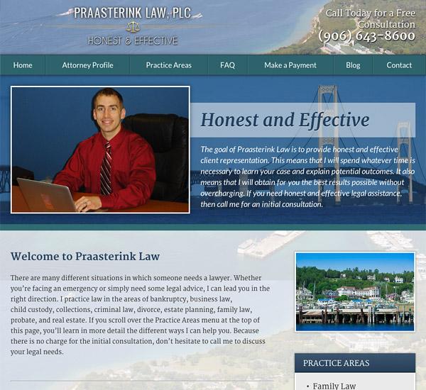 Mobile Friendly Law Firm Webiste for Praasterink Law, PLC