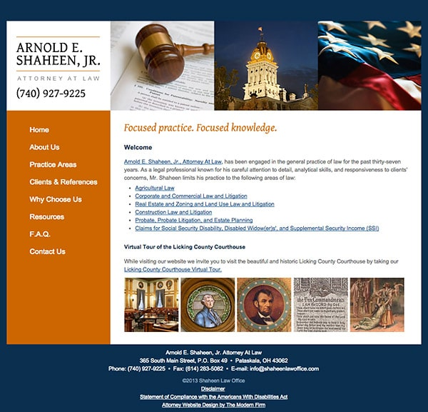 Law Firm Website Design for Arnold E. Shaheen, Jr. Attorney at Law