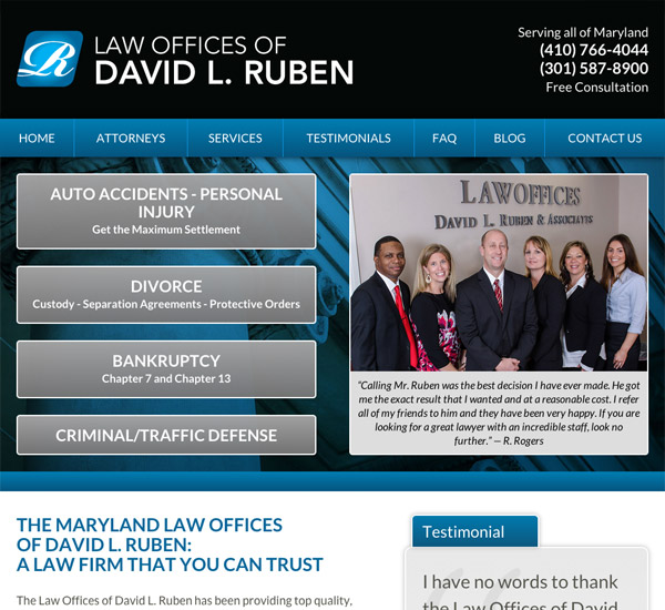 Mobile Friendly Law Firm Webiste for Law Offices of David L. Ruben