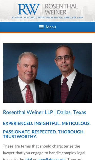Responsive Mobile Attorney Website for Rosenthal Weiner LLP