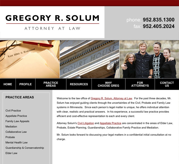 Mobile Friendly Law Firm Webiste for Gregory R. Solum, Attorney at Law