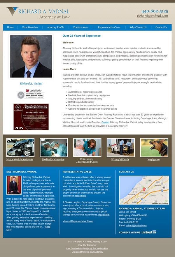 Law Firm Website Design for Richard A. Vadnal