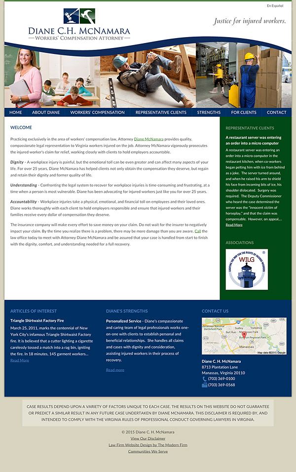 Law Firm Website Design for Diane C.H. McNamara
