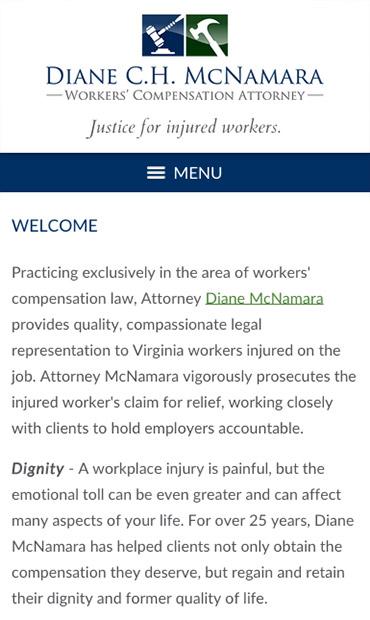 Responsive Mobile Attorney Website for Diane C.H. McNamara