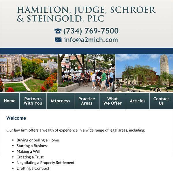 Mobile Friendly Law Firm Webiste for Hamilton, Judge, Schroer & Steingold, PLC