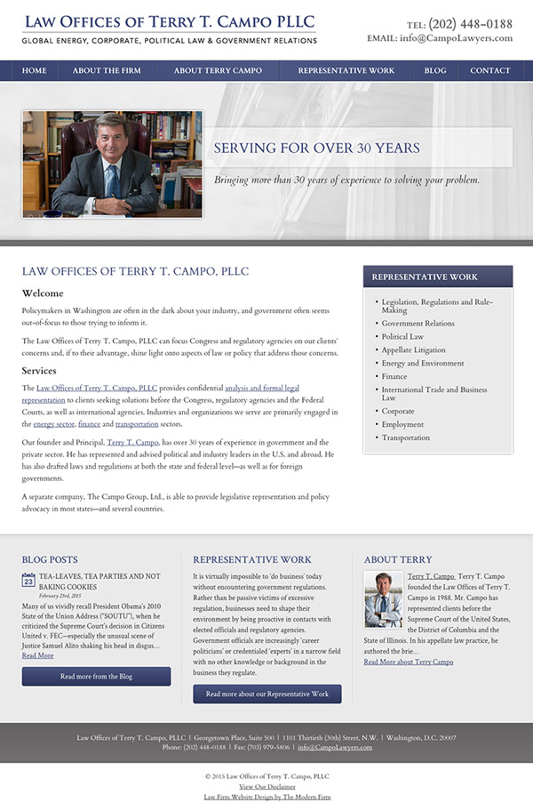 Law Firm Website Design for Law Offices of Terry T. Campo PLLC