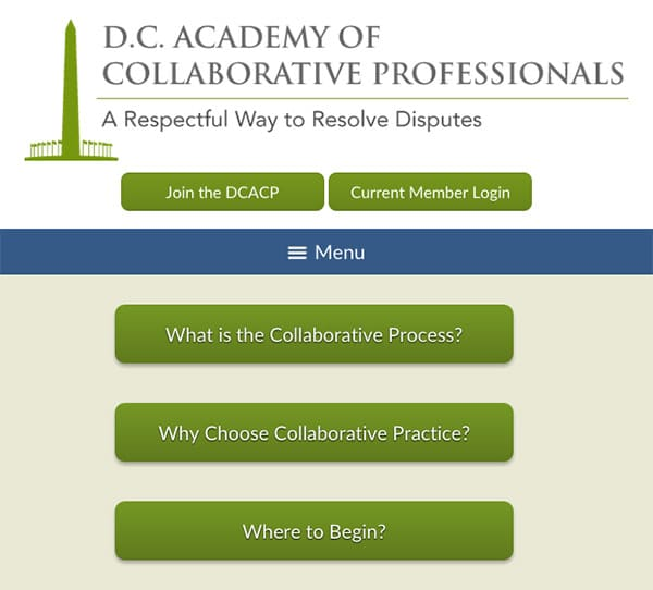Law Firm Website Design for D.C. Academy of Collaborative Professionals