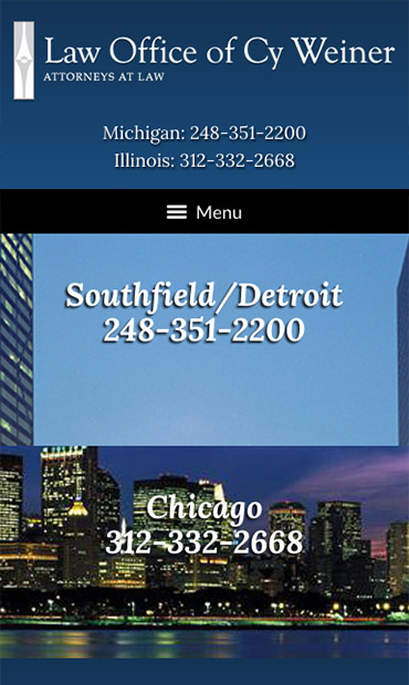 Responsive Mobile Attorney Website for Law Office of Cy Weiner