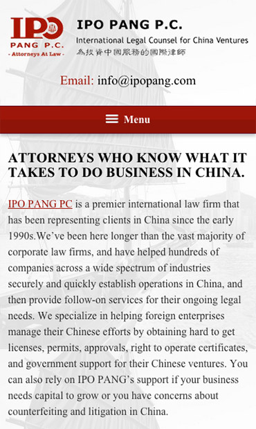 Responsive Mobile Attorney Website for IPO PANG P.C.