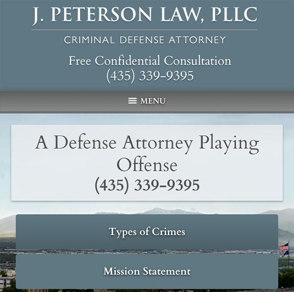 Mobile Friendly Law Firm Webiste for J. Peterson Law, PLLC