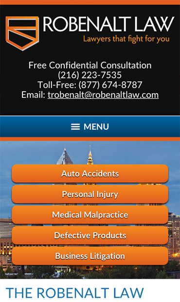 Responsive Mobile Attorney Website for The Robenalt Law Firm, Inc.