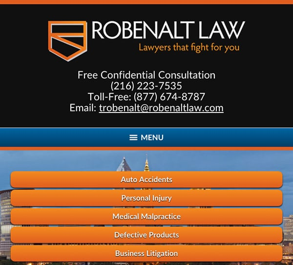 Mobile Friendly Law Firm Webiste for The Robenalt Law Firm, Inc.