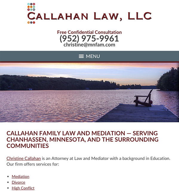 Mobile Friendly Law Firm Webiste for Callahan Law, LLC