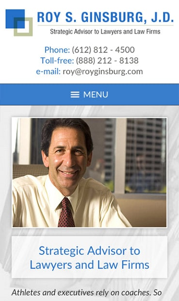 Responsive Mobile Attorney Website for Roy S. Ginsburg, J.D.