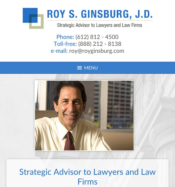 Mobile Friendly Law Firm Webiste for Roy S. Ginsburg, J.D.