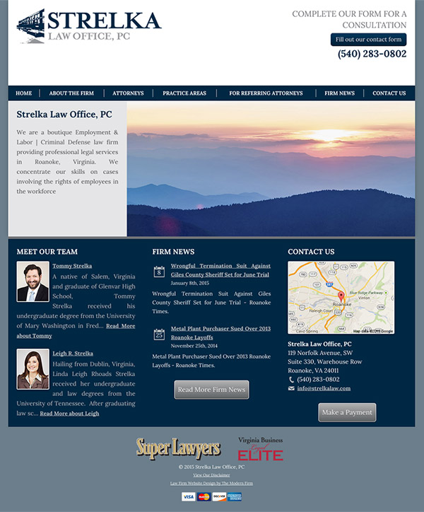 Law Firm Website Design for Strelka Law Office, PC