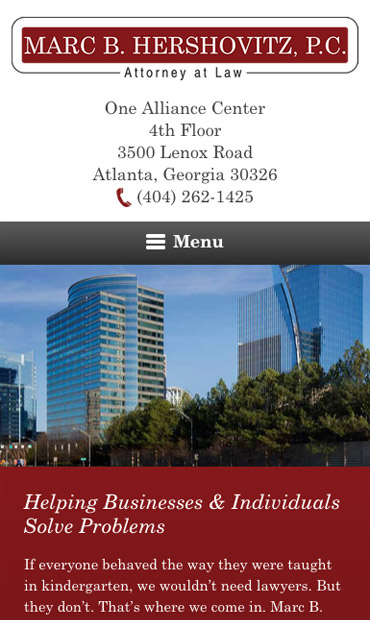Responsive Mobile Attorney Website for Marc B. Hershovitz, P.C.