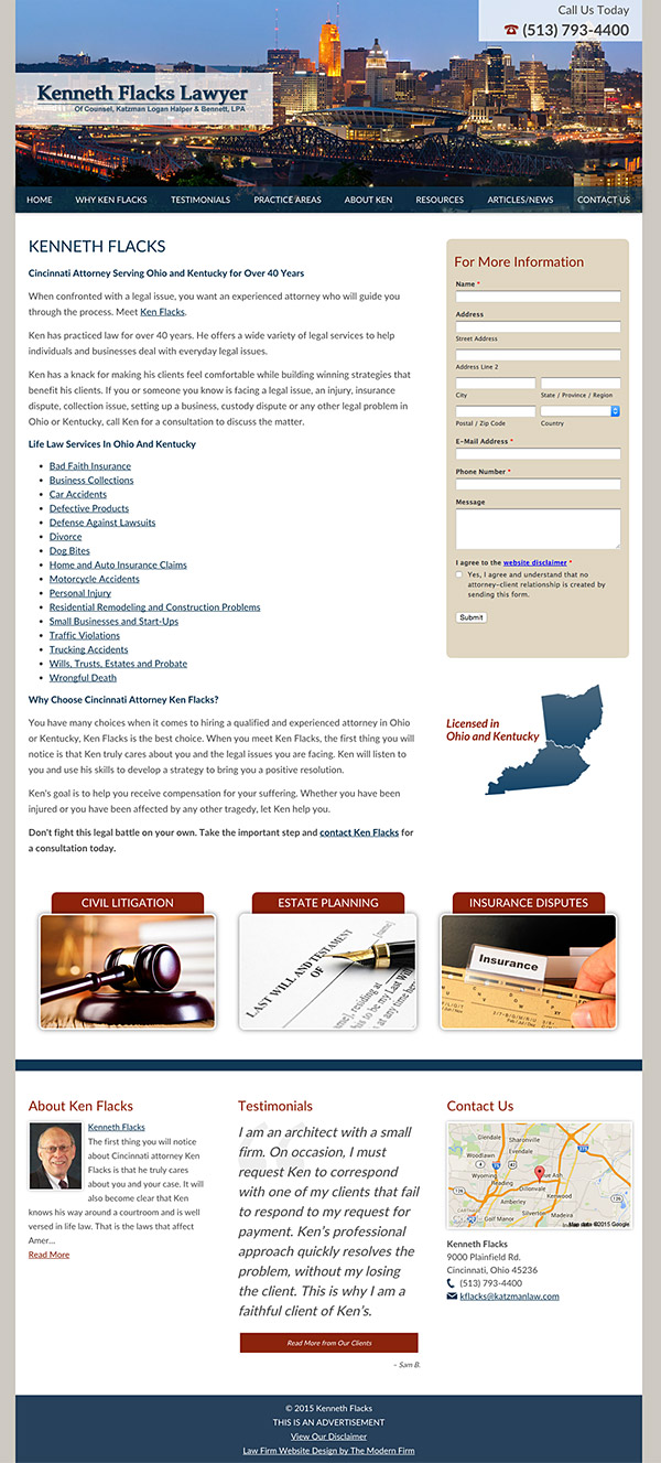 Law Firm Website for Kenneth Flacks Lawyer