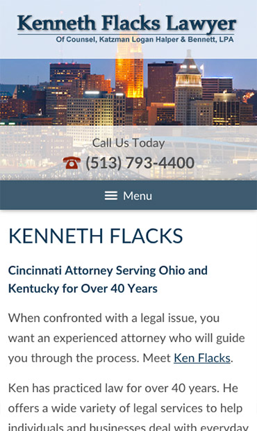 Responsive Mobile Attorney Website for Kenneth Flacks Lawyer