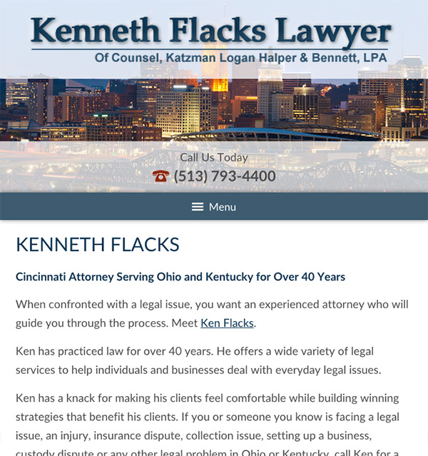 Mobile Friendly Law Firm Webiste for Kenneth Flacks Lawyer
