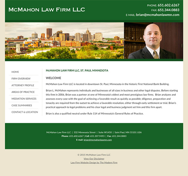 Law Firm Website Design for McMahon Law Firm LLC