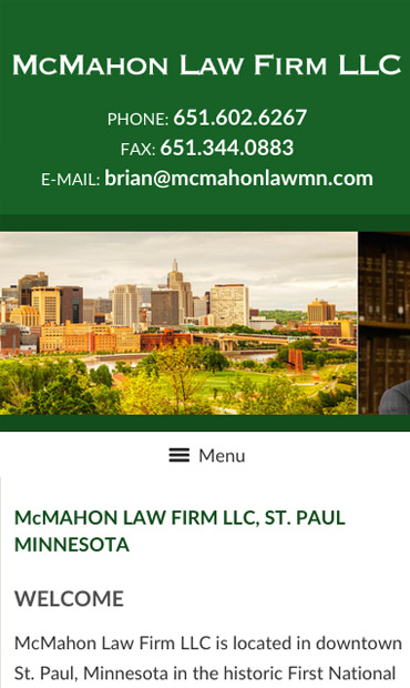 Responsive Mobile Attorney Website for McMahon Law Firm LLC