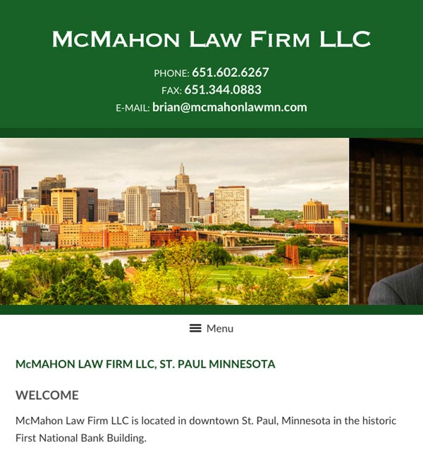 Mobile Friendly Law Firm Webiste for McMahon Law Firm LLC