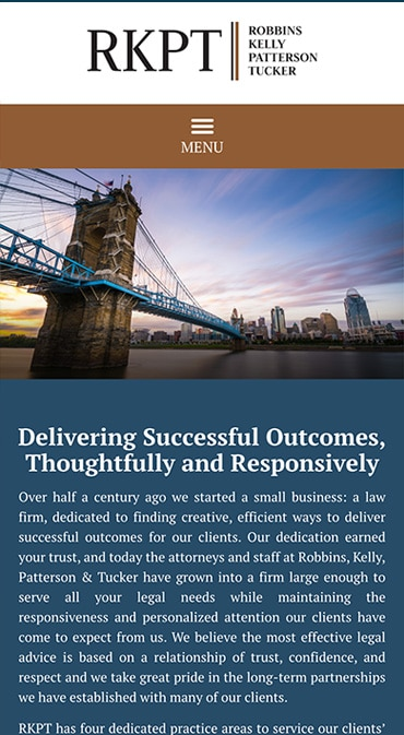 Responsive Mobile Attorney Website for Robbins Kelly Patterson Tucker