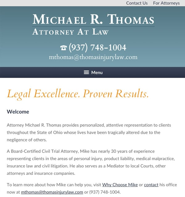Mobile Friendly Law Firm Webiste for Michael R. Thomas, Attorney at Law