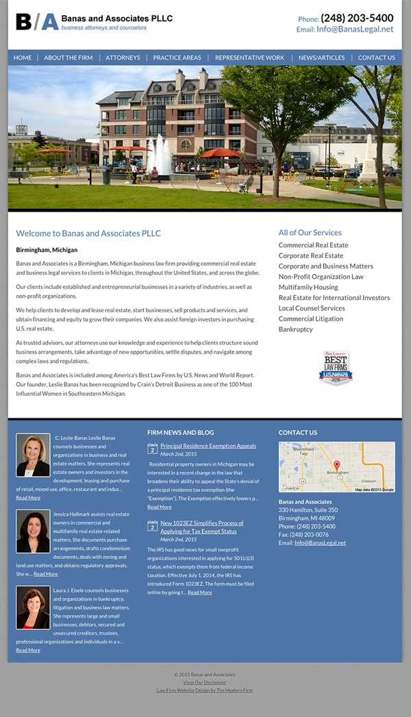 Law Firm Website Design for Banas and Associates