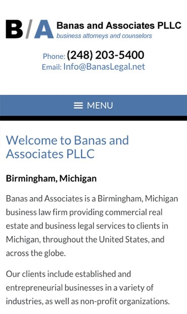 Responsive Mobile Attorney Website for Banas and Associates