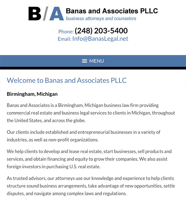 Mobile Friendly Law Firm Webiste for Banas and Associates