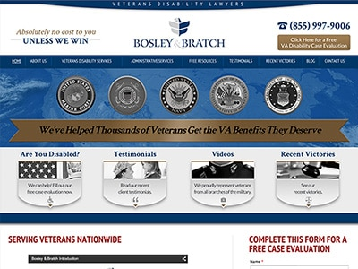 Law Firm Website design for Bosley & Bratch