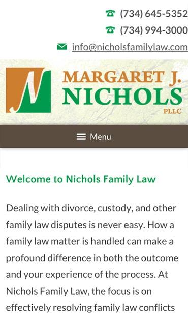 Responsive Mobile Attorney Website for Margaret J. Nichols PLLC