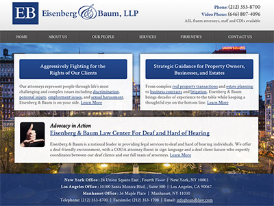 Law Firm Website design for Eisenberg & Baum, LLP