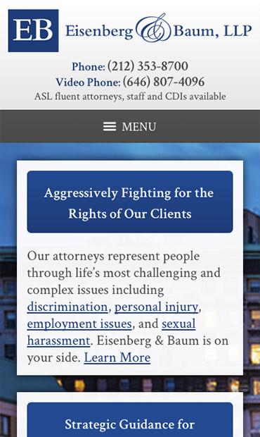 Responsive Mobile Attorney Website for Eisenberg & Baum, LLP