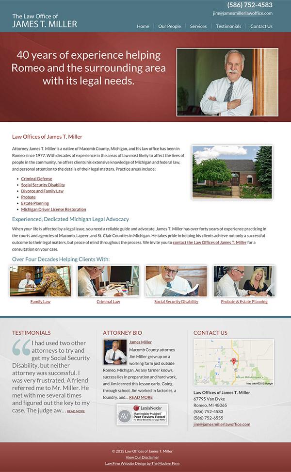 Law Firm Website Design for Law Offices of James T. Miller