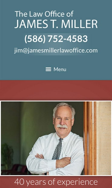 Responsive Mobile Attorney Website for Law Offices of James T. Miller