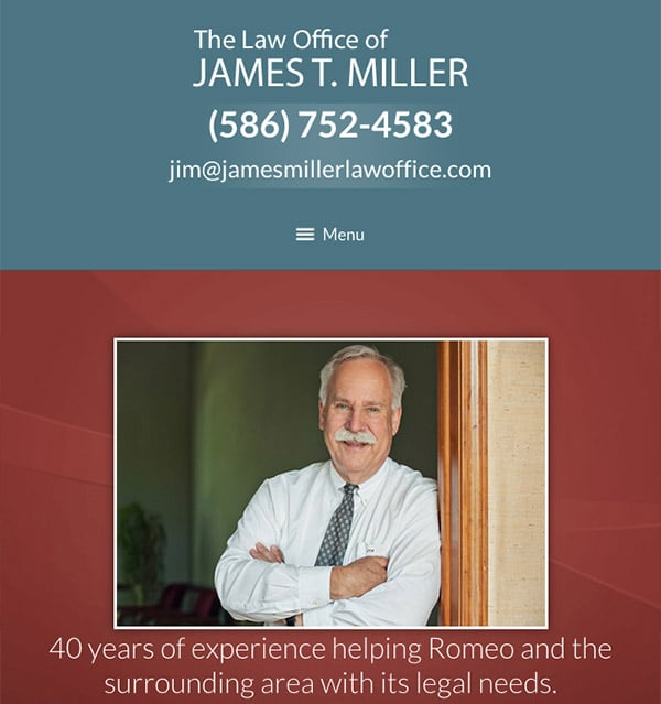 Mobile Friendly Law Firm Webiste for Law Offices of James T. Miller