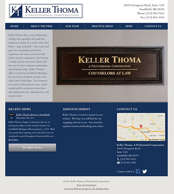 Law Firm Website Design for Keller Thoma, A Professional Corporation