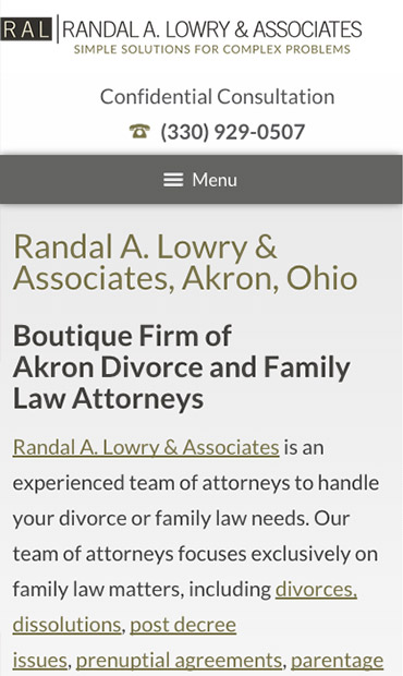 Responsive Mobile Attorney Website for Randal A. Lowry & Associates