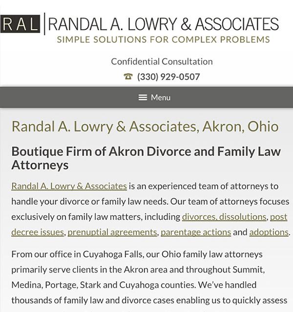 Mobile Friendly Law Firm Webiste for Randal A. Lowry & Associates