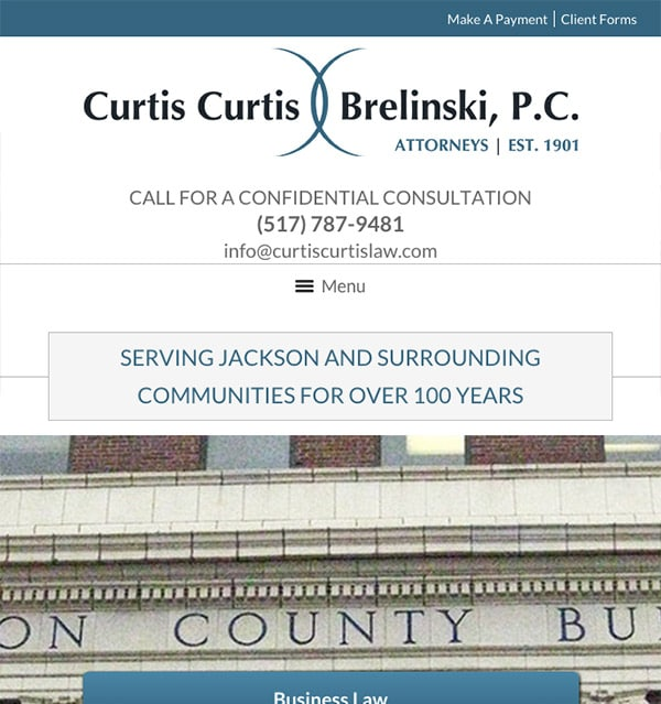 Mobile Friendly Law Firm Webiste for Curtis, Curtis & Brelinski, P.C.