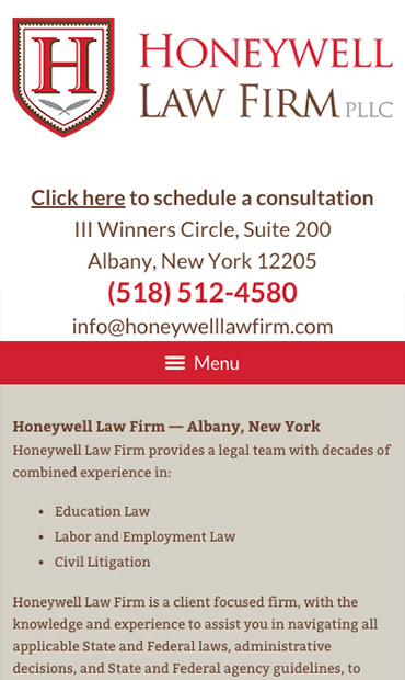 Responsive Mobile Attorney Website for Honeywell Law Firm PLLC
