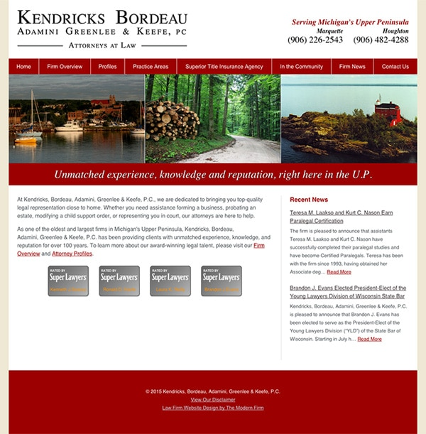 Law Firm Website for Kendricks, Bordeau, Adamini, Greenlee & Keefe, P.C.